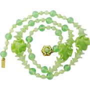 Signed Vintage Miriam Haskell Necklace Green Glass Bead Poured Glass Floral