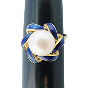 Vintage 18K Gold Ring Pearl Solitaire Cobalt Blue Enamel Swirls Size 6