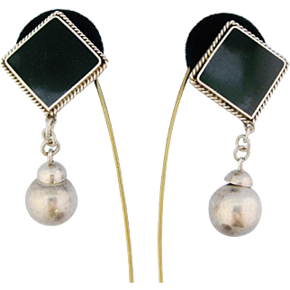 Vintage Huge Mexican Drop Earrings Sterling Silver Faux Onyx 3 Inch Dangle Balls Clip Style