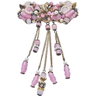 Vintage Unsigned Haskell Style Pink White Bar Brooch With Dangles