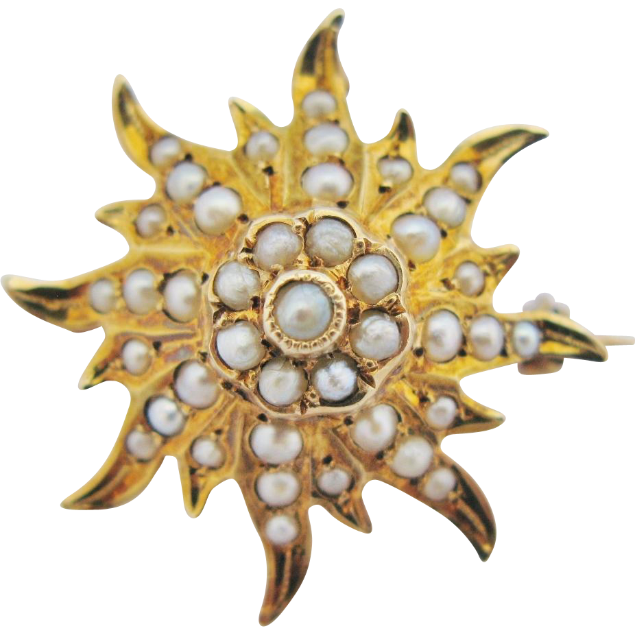 Antique Tiered Starburst Brooch Pendant 14K Gold Victorian Seed Pearls