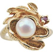 Vintage 14 Karat Gold Pearl And Ruby Floral Ring Size 6.5