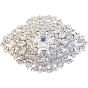 Huge Austrian Rhinestone Layered Brooch Clear 3.75 Inches
