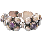 Mexican Amethyst Silver Link Bracelet Quatrefoil Pre-Eagle Sterling Vintage 1940's
