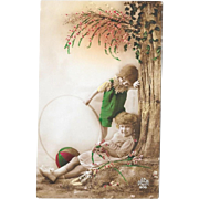 Vintage DeDe Paris Postcard French Children With Doll and Toys