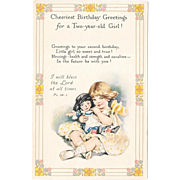 Vintage Birthday Postcard Two Year Old Girl With Doll