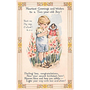 Vintage Birthday Postcard Two Year Old Boy With Hand Puppet