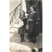 Real Photo Postcard Girls With Doll