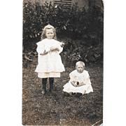 Real Photo Postcard Children With Doll