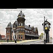Vintage Postcard T.H.&B. Train Station Hamilton Ontario