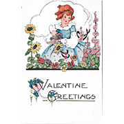 Embossed Vintage Valentine Postcard Girl With Flowers