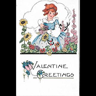 Embossed Vintage Valentine Postcard Girl With Flowers