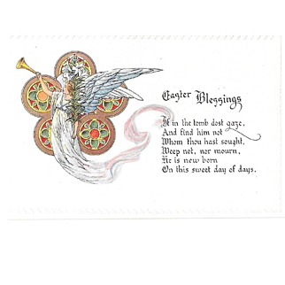Vintage Embossed Easter Blessing Postcard With Angel Horn Lily