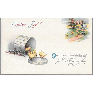 Vintage Easter Postcard With Chicks, Hat Box, Young Child