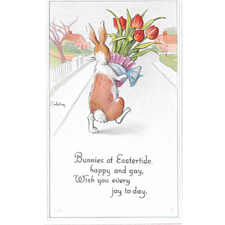 Twelvetrees Vintage Easter Postcard Bunny Carrying Pot of Tulips