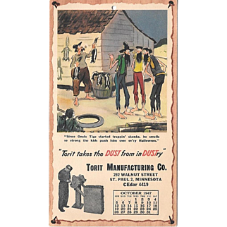October 1947 Paul Webb Mountain Boys Advertising Calendar
