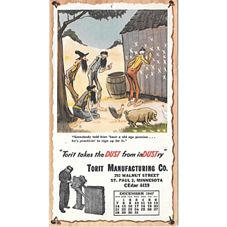 December 1947 Paul Webb Mountain Boys Advertising Calendar