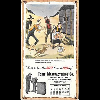 March 1948 Paul Webb Mountain Boys Advertising Calendar