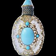 Vintage Czech Jeweled Enameled Filigree Perfume Bottle