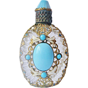 Vintage Czech Jeweled Enameled Filigree Perfume Bottle
