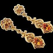 Vintage 14K Gold Topaz Drop Dangle Pierced Earrings