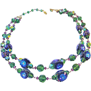 Vintage Vendome Double Strand Necklace Purple Blue Margarita Marguerite Beads Amethyst Green