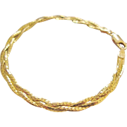 Vintage 10K Gold Bracelet Three Strand Braided Herringbone