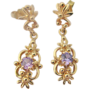 Vintage 14K Amethyst Drop Dangle Gold Earrings