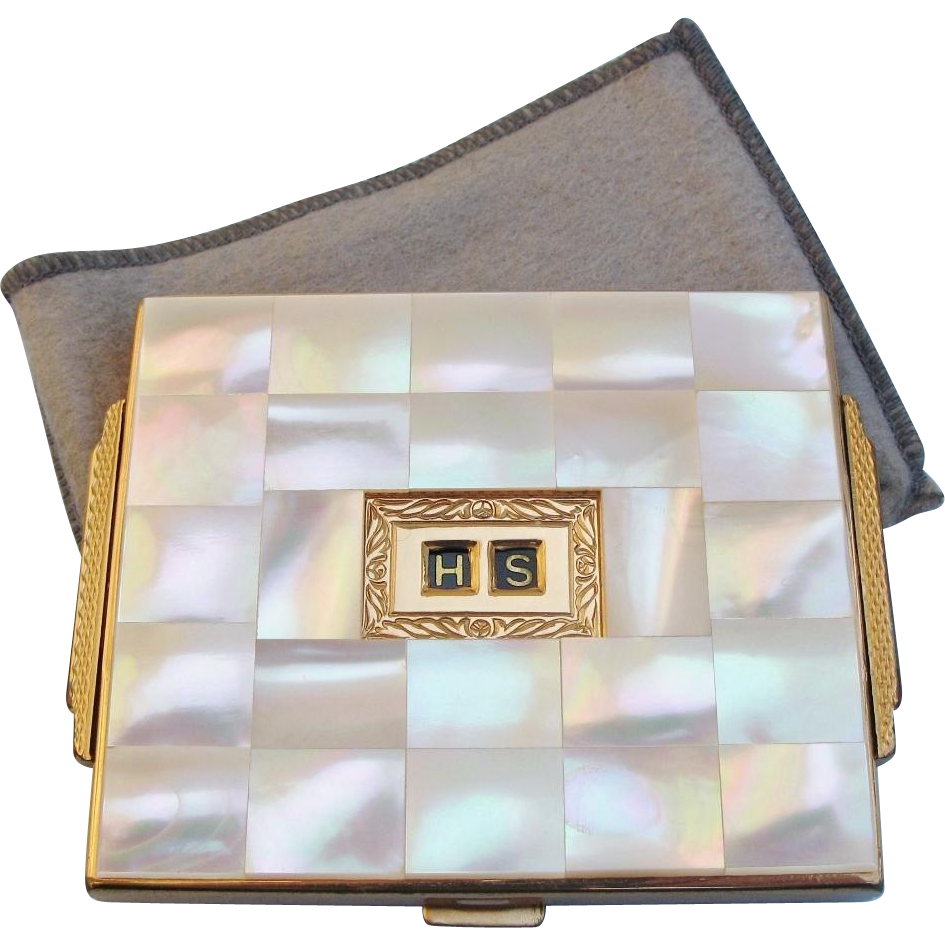 Vintage Agme Compact Mother of Pearl MOP Goldtone Initials