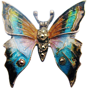 Vintage Alice Caviness Butterfly Brooch Enamelled Sterling Silver With Marcasites