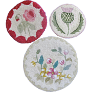 Three Vintage Hooked Floral Doll House Rugs