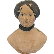 Antique Milliners Model Papier Mache Blue Eyed Doll Head
