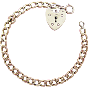 9K Gold Heart Padlock Charm With English Gold Filled Vintage Link Bracelet