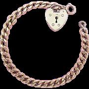 9K Gold Heart Padlock Charm With English Gold Filled Vintage Link Bracelet