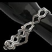 Mexican Modernist Link Bracelet Vintage Heavy Sterling Silver Pre Eagle