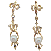 14K Gold Pearl Dangle Earrings Vintage Long Ornate Drops