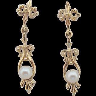 14K Gold Pearl Dangle Earrings Vintage Long Ornate Drops