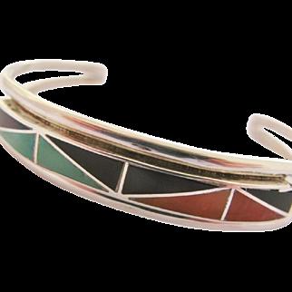 Native American Cuff Bracelet Inlay Sterling Silver Vintage Zuni Southwestern