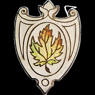 Antique Edwardian Long Hatpin Enamel Sterling Silver Maple Leaf