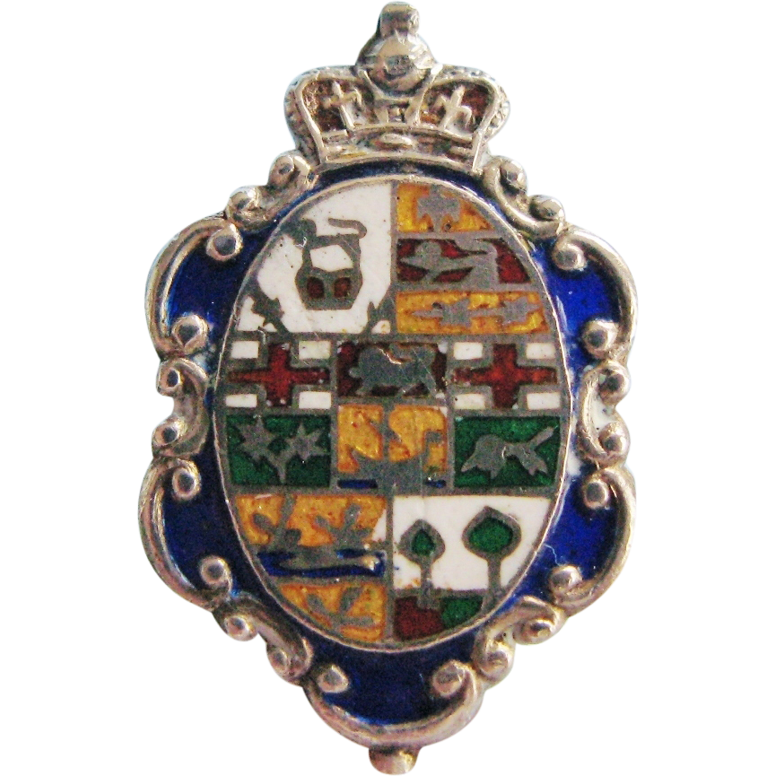 Antique Edwardian Long Hatpin Enameled Sterling Silver Coat of Arms Design