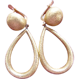 18K Drop Dangle Earrings Vintage 18 Karat Yellow Textured Gold Latch Back
