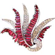 Boucher Vintage Brooch Silvertone Red Baguette Clear Rhinestone Ribbon Swirls