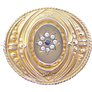 Antique Chased Gold Brooch 10K With Seed Pearls Faux Blue Sapphires