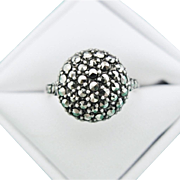 Art Deco Ring Marcasite Sterling Silver Domed Round Vintage Size 8