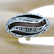 Art Deco Marcasite Ring Elongated Openwork Oval Domed Silver Swirl Vintage Size 7