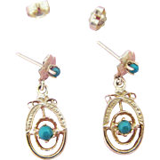 14K Turquoise Dangle Earrings Vintage Gold Drops Teal Colored Stones
