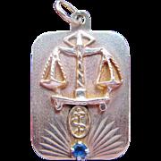 10K Gold Pendant Libra Medical Alert Diabetic Rod of Asclepius Scales Sapphire Vintage