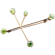 Peridot 14K Gold Brooch Southern Cross Star Constellation Vintage