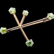 Peridot 14K Gold Southern Cross Star Constellation Vintage Brooch