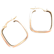 10K Gold Square Hoop Earrings Modernist Italian Vintage Pierced